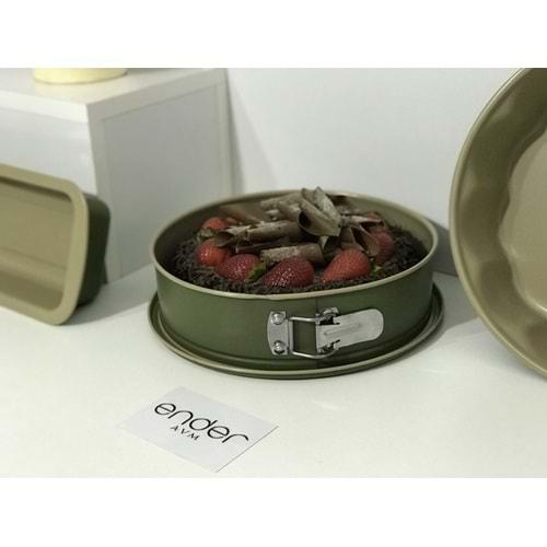 Karaca Jennese 2 Parça Kelepçeli Kek Kalıbı Yeşil-Bej